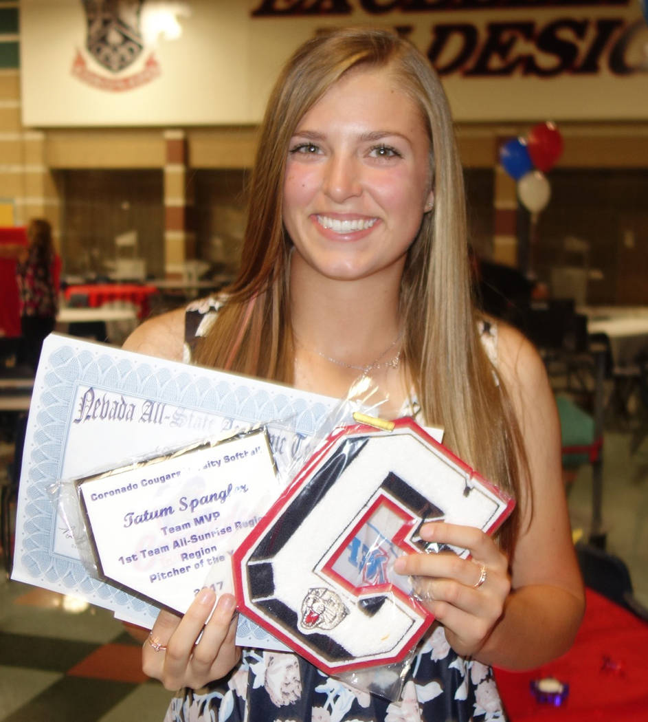 P Tatum Spangler, Coronado: The junior was the Pitcher of the Year in the Class 4A Sunrise League and helped the Cougars win the region title. Spangler went 14-3 with a 1.29 ERA and 184 strikeouts ...