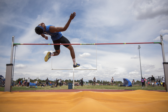Basic's Frank Harris competes in the high jump event during the Division I region track meet at Del Sol High School in Las Vegas on Saturday, May 7, 2016. (Martin S. Fuentes/Las Vegas Review-Journal)