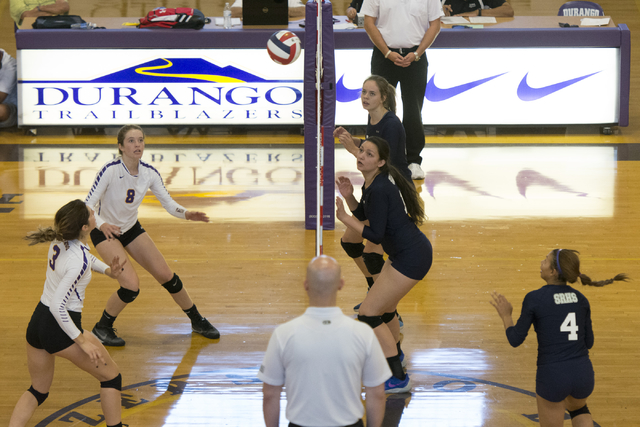 Shadow Ridge plays a match against Durango during a Sunset Region girls volleyball semifinal match at Durango in Las Vegas, Thursday, Nov. 3, 2016. Jason Ogulnik/Las Vegas Review-Journal