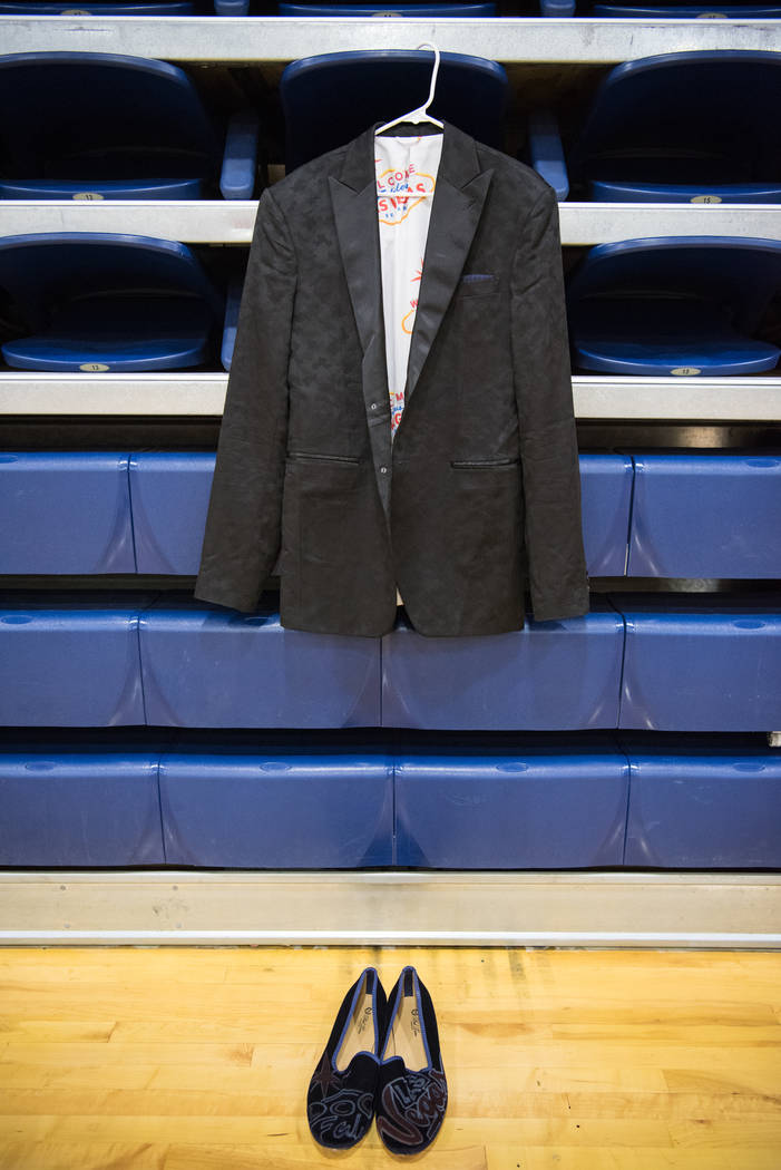 Portland Trail Blazers rookie Zach Collins' draft ensemble resting on the bleachers of Bishop Gorman High School on Friday, June 30, 2017, in  Las Vegas. Morgan Lieberman Las Vegas Review-Journal