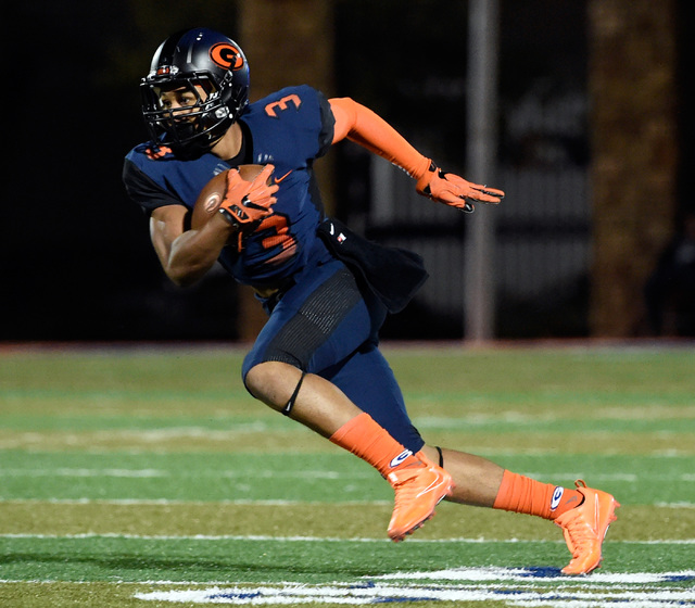 Bishop Gorman's Jalen Nailor carries against Palo Verde during the first half of a high school football game at Bishop Gorman High School, Thursday, Nov. 10, 2016, in Las Vegas. David Becker/Las V ...