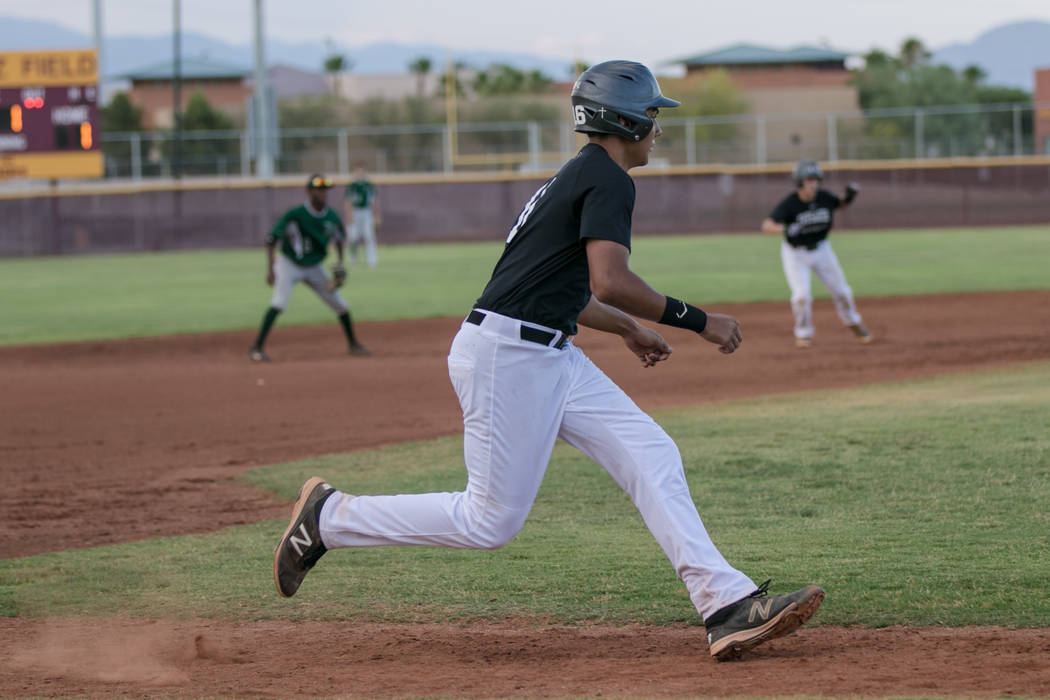 Faith Lutheran Crusader Jacob Ortega running towards home base during a game at Faith Lutheran High School on Thursday, July 6, 2017, in Las Vegas. Morgan Lieberman Las Vegas Review-Journal