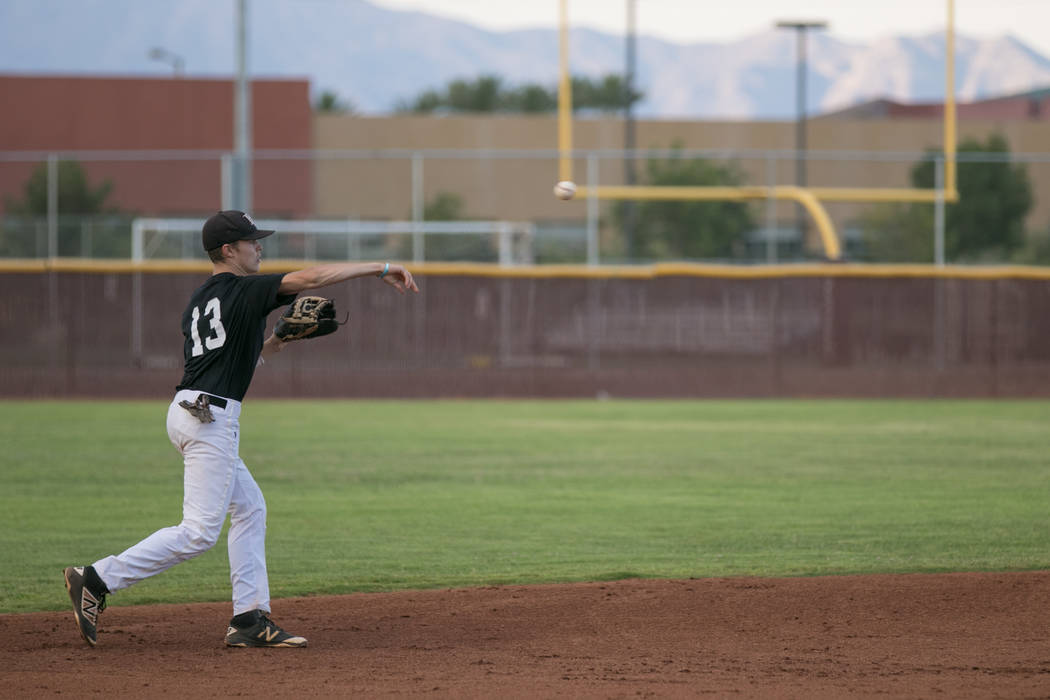 Faith Lutheran Crusader Paulshawn Pasqualotto tossing the ball to second base at shortstop during a game at Faith Lutheran High School on Thursday, July 6, 2017, in Las Vegas. Morgan Lieberman Las ...