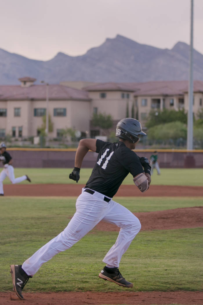 Faith Lutheran Crusader Jacob Ortega running towards first base during a game at Faith Lutheran High School on Thursday, July 6, 2017, in Las Vegas. Morgan Lieberman Las Vegas Review-Journal