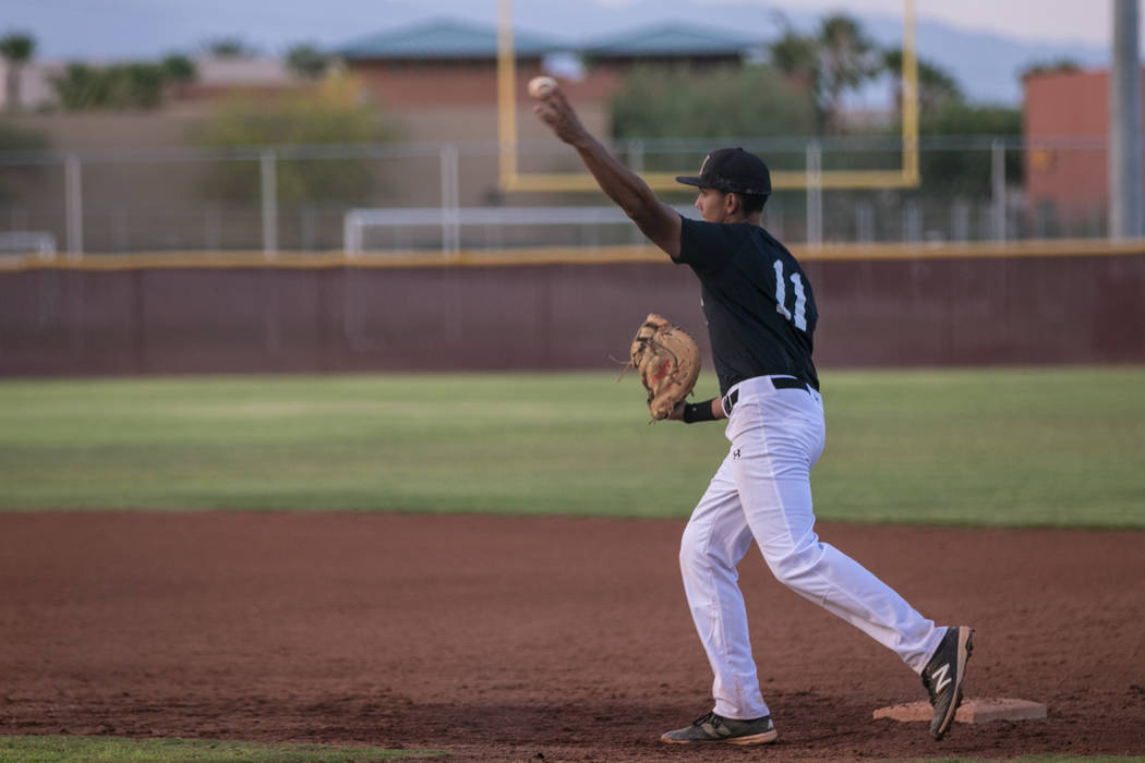 Faith Lutheran Crusader Jacob Ortega throwing the ball to the pitcher during a game at Faith Lutheran High School on Thursday, July 6, 2017, in Las Vegas. Morgan Lieberman Las Vegas Review-Journal