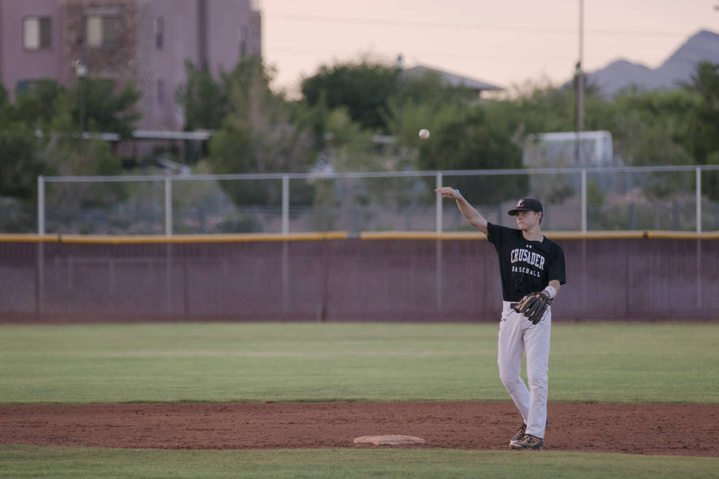 Faith Lutheran Crusader Paulshawn Pasqualotto tossing the ball to the pitcher during a game at Faith Lutheran High School on Thursday, July 6, 2017, in Las Vegas. Morgan Lieberman Las Vegas Review ...