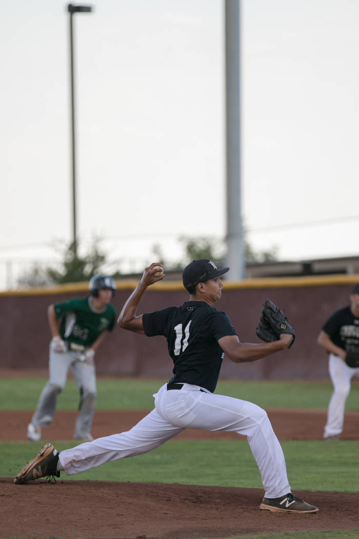 Faith Lutheran Crusader Jacob Ortega at the pitch during a game at Faith Lutheran High School on Thursday, July 6, 2017, in Las Vegas. Morgan Lieberman Las Vegas Review-Journal