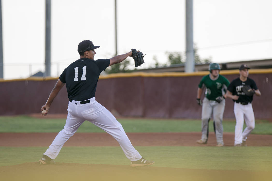 Faith Lutheran Crusader Jacob Ortega at the pitch during a game at Faith Lutheran High School on Thursday, July 6, 2017, in Las Vegas. (Morgan Lieberman/Las Vegas Review-Journal)