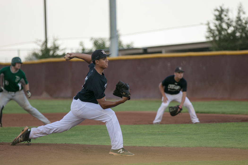 Faith Lutheran Crusader Jacob Ortega at the pitch during a game at Faith Lutheran High School on Thursday, July 7, 2017, in Las Vegas. Morgan Lieberman Las Vegas Review-Journal