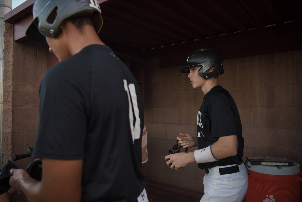 Faith Lutheran Crusader Paulshawn Pasqualotto in the dugout during a game at Faith Lutheran High School on Thursday, July 6, 2017, in Las Vegas. Morgan Lieberman Las Vegas Review-Journal