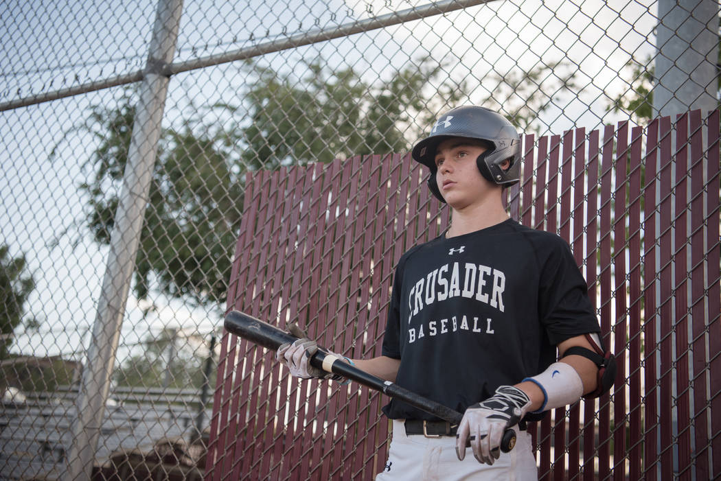 Faith Lutheran Crusader Paulshawn Pasqualotto up to bat during a game at Faith Lutheran High School on Thursday, July 6, 2017, in Las Vegas. Morgan Lieberman Las Vegas Review-Journal