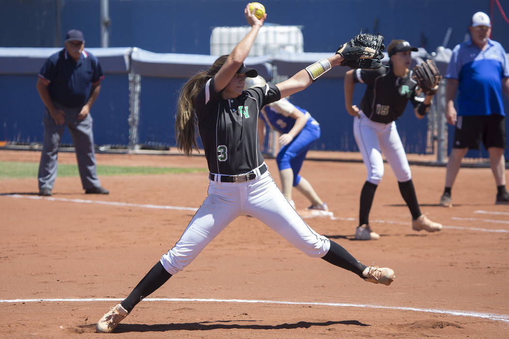 Palo Verde junior Taylor Askland pitches to Reed during a game at Bishop Gorman High School on Friday, May 19, 2017, in Las Vegas. Palo Verde won 2-0 and will advance to championship series of Cla ...