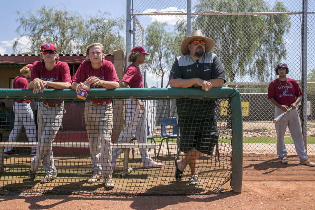 The Desert Oasis High School varsity baseball team during a practice game at Desert Oasis High School in Las Vegas, Friday, July 21, 2017.  Gabriella Angotti-Jones Las Vegas Review-Journal @gabrie ...