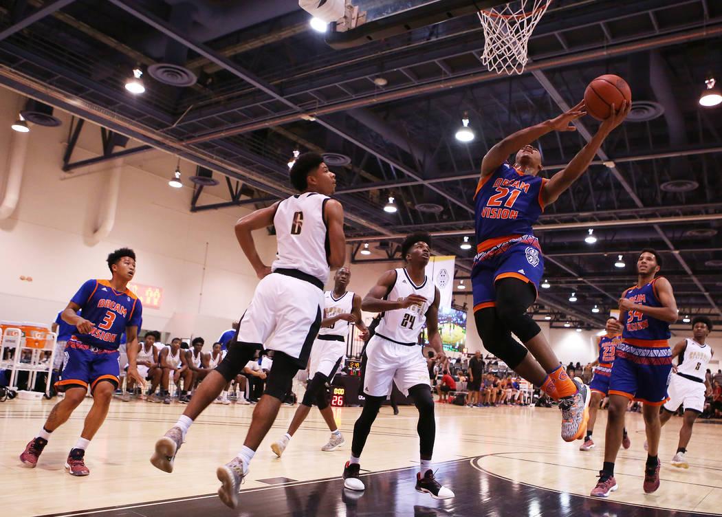 Dream Vision player Matt Mitchell goes up for a basket during an Adidas Summer Championship AAU tournament game at Cashman Center in Las Vegas on Wednesday, July 26, 2017.  Bridget Bennett Las Veg ...