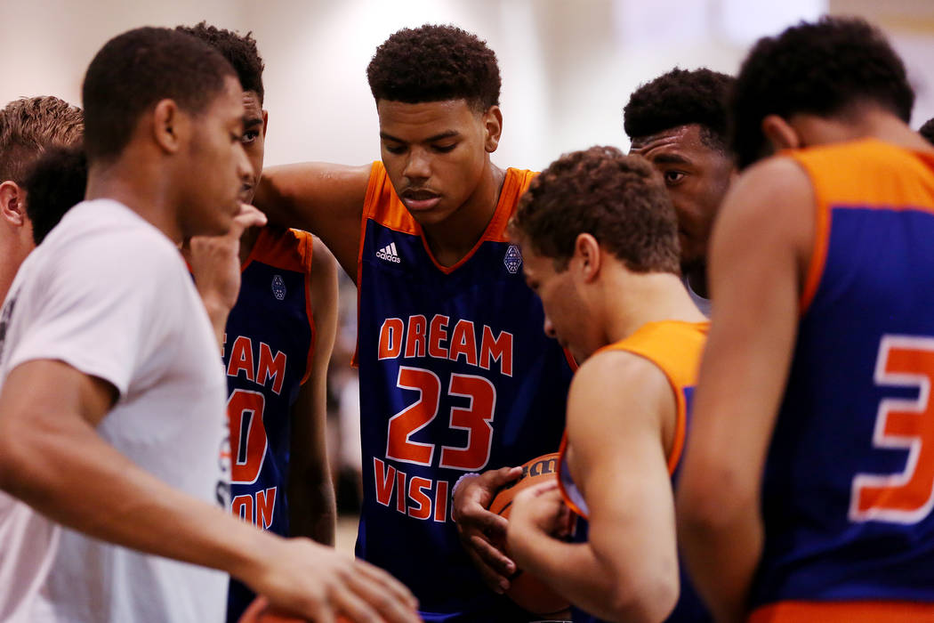Dream Vision player Bryan Penn-Johnson huddles with his teammates during an Adidas Summer Championship AAU tournament game at Cashman Center in Las Vegas on Wednesday, July 26, 2017.  Bridget Benn ...