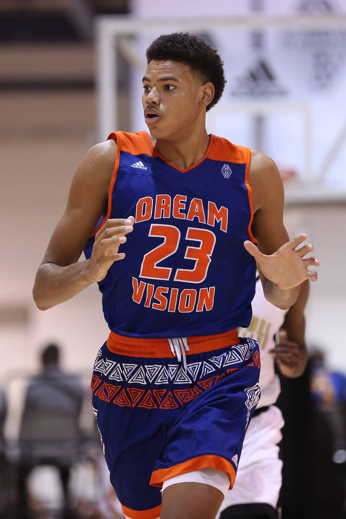 Dream Vision player Bryan Penn-Johnson travels down the court during an Adidas Summer Championship AAU tournament game at Cashman Center in Las Vegas on Wednesday, July 26, 2017.  Bridget Bennett  ...