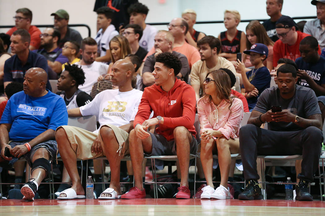 Lakers player Lonzo Ball, center, at courtside during an Adidas Summer Championship AAU tournament game at Cashman Center in Las Vegas on Thursday, July 27, 2017.  Bridget Bennett Las Vegas Review ...