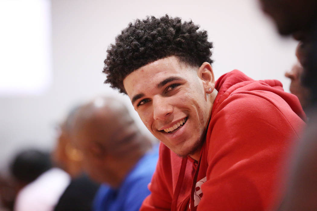 Lakers player Lonzo Ball at courtside during an Adidas Summer Championship AAU tournament game at Cashman Center in Las Vegas on Thursday, July 27, 2017.  Bridget Bennett Las Vegas Review-Journal  ...