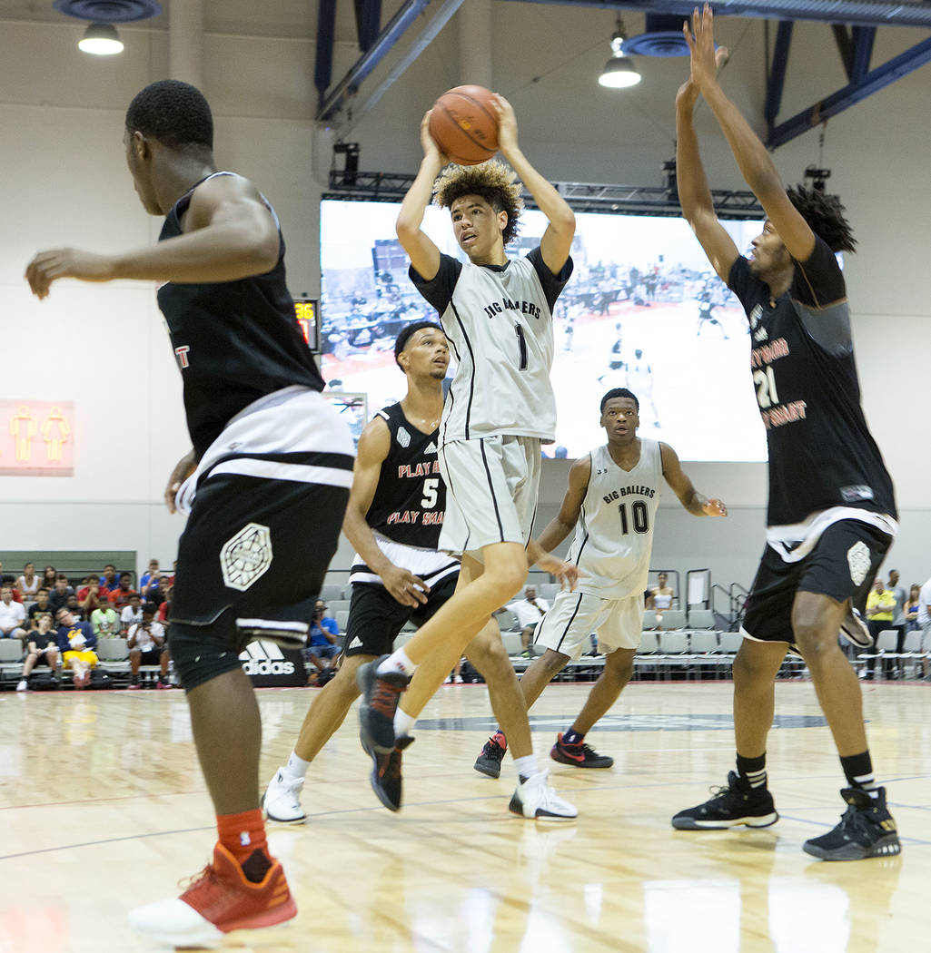 Big Baller Brand player LaMelo Ball passes the ball during an Adidas Summer Championship AAU tournament game at Cashman Center in Las Vegas on Thursday, July 27, 2017.  Bridget Bennett Las Vegas R ...