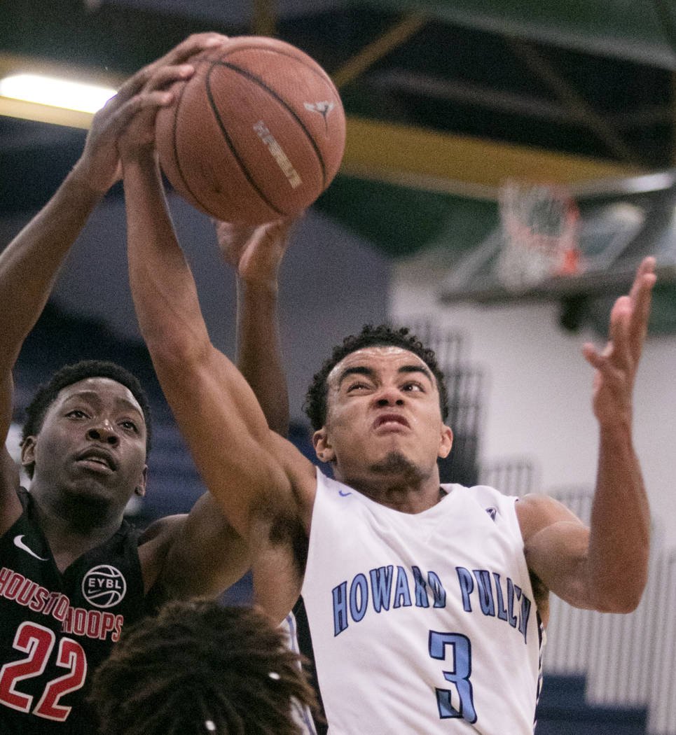 Howard Pulley Panthers point guard Tre Jones  against Houston Hoops forward Mitchell Seraille Jr. at Spring Valley High School on Friday, July 28, 2017, in Las Vegas. Morgan Lieberman Las Vegas Re ...