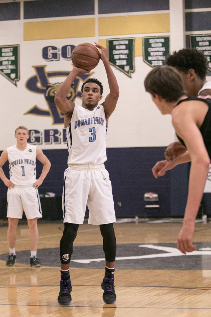 Howard Pulley Panthers point guard Tre Jones attempts the free throw in the second quarter against the Houston Hoops at Spring Valley High School on Friday, July 28, 2017, in Las Vegas. Morgan Lie ...