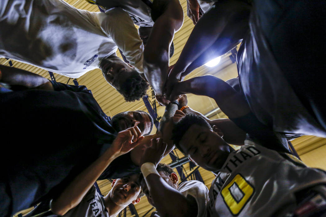 Team Thad comes together in a post-game huddle during the Las Vegas Fab 48 Championship Game on Sunday, July 30, 2017. Team Thad won 77-61 over New York.  Patrick Connolly Las Vegas Review-Journal ...