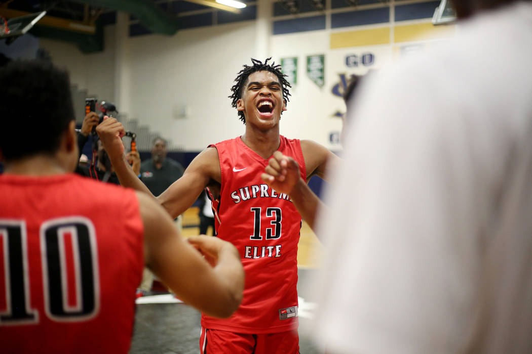 California Supreme Elite's Joshua Christopher, 13, dances after winning the Platinum Elite Championship game of the Las Vegas Classic AAU tournament against Las Vegas Prospects at Spring Valley Hi ...