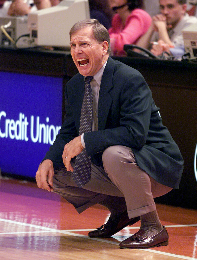 In this Jan. 12, 2002 file photo, former Baylor coach Dave Bliss yells to his team during the first half against Texas at the Frank Erwin Center in Austin, Texas. (AP Photo/Deborah Cannon, file)