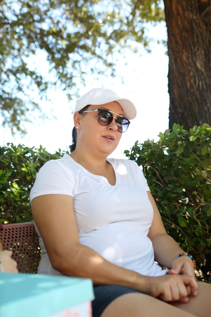 Alexis Bisplinghoff, sister of Haylei Hughes, who died in hiking accident July 26 in Washington state, talks to a reporter during an interview at Trails Park in Summerlin, Tuesday, Aug. 1, 2017. E ...