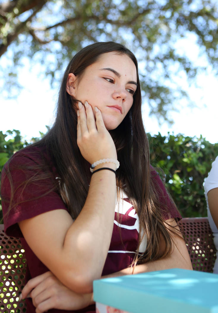 Allison Rogers, cousin of Haylei Hughes, who died in hiking accident July 26 in Washington state, talks to a reporter during an interview at Trails Park in Summerlin, Tuesday, Aug. 1, 2017. Elizab ...