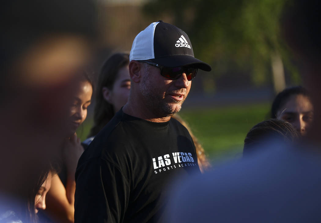 Club soccer coach Doug Borgell speaks during a vigil for Haylei Hughes, a former Cimarron-Memorial student-athlete, who died in a hiking accident in Wash., at Kellogg Zaher Sports Complex in Las V ...