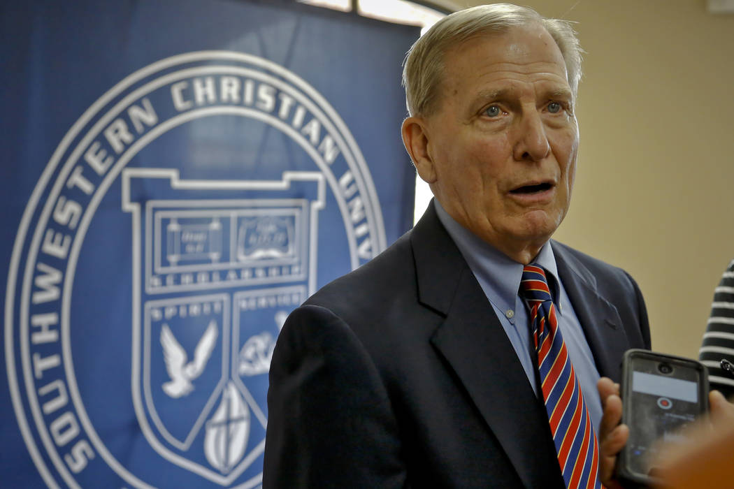 Dave Bliss speaks to the media during his introduction as the Southwestern Christian University men's basketball coach Wednesday, April 8, 2015, Bethany, Okla. Bliss resigned as the Baylor basketb ...