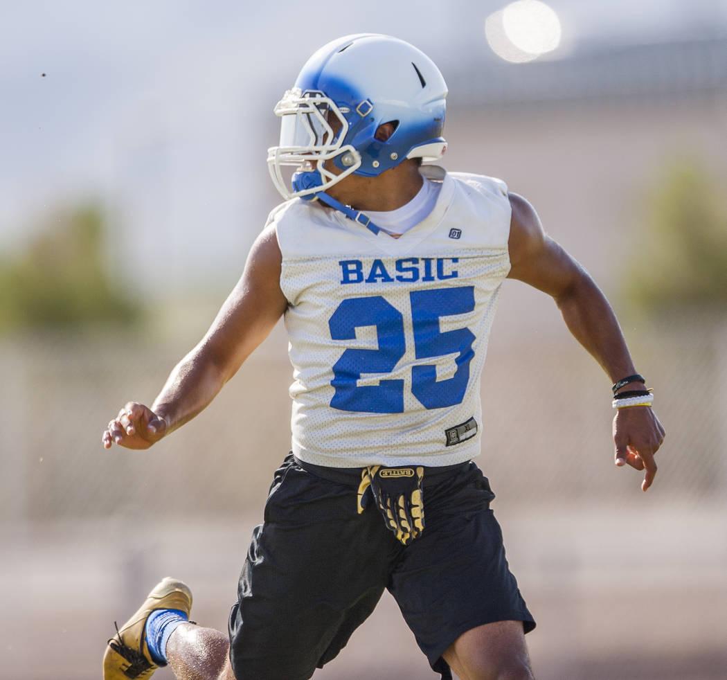 Basic senior Jordan Gallegos during practice at Basic High School football field on Monday, Aug. 7, 2017.  Patrick Connolly Las Vegas Review-Journal @PConnPie