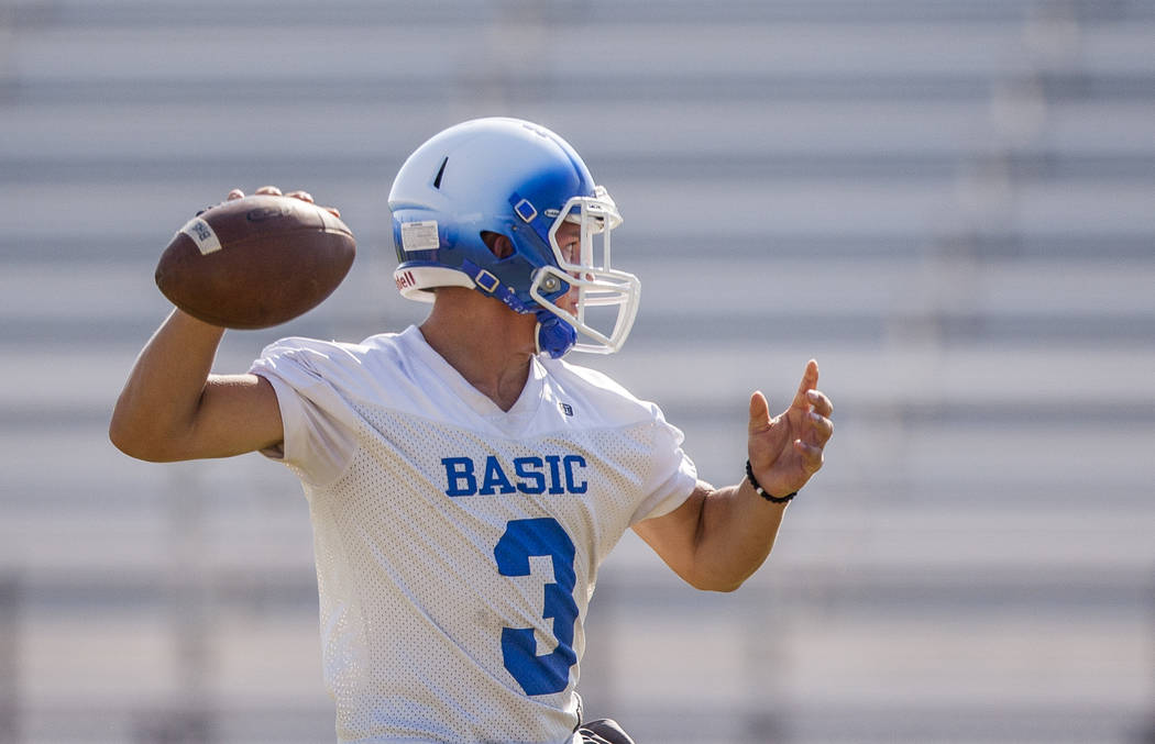 Basic quarterback Paul Myro looks for a pass during practice at Basic High School football field on Monday, Aug. 7, 2017.  Patrick Connolly Las Vegas Review-Journal @PConnPie