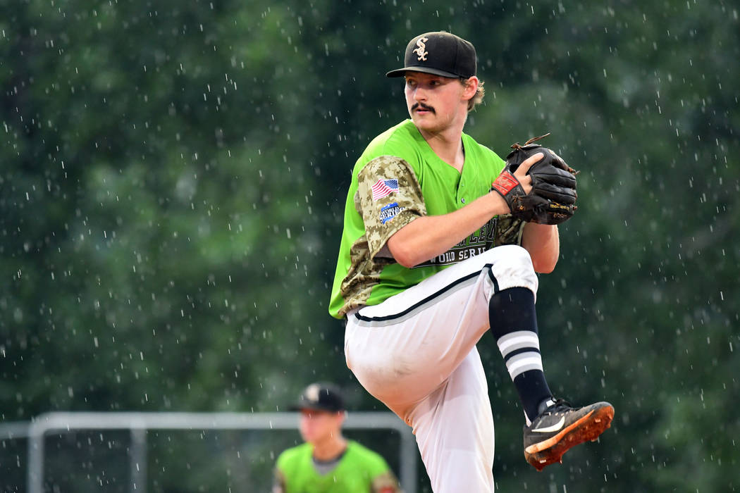 Beaux Bonvillain II of Bryant, Ark., Post 298 pitches against Henderson, Nev., Post 40 during a rainy game 13 of The American Legion World Series on Monday, August 14, 2017 in Shelby, N.C.. Photo  ...
