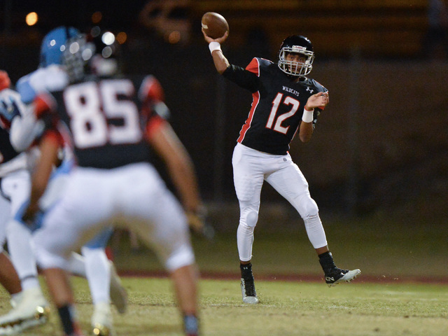 Las Vegas quarterback Zach Matlock (12) throws a pass during the Las Vegas High School Canyon Springs High School game at Las Vegas High School on Friday, Oct. 7, 2016. Brett Le Blanc/Las Vegas Re ...