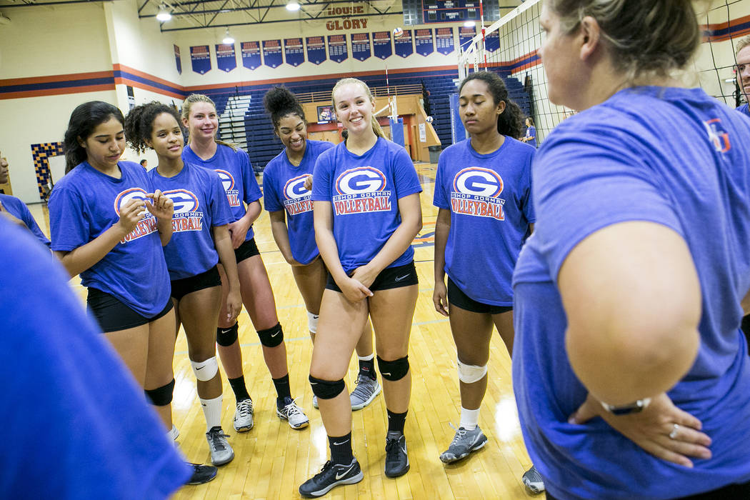 Bishop Gorman volleyball players gather during a practice at Bishop Gorman High School Monday, Aug. 21, 2017, in Las Vegas. Bridget Bennett Las Vegas Review-Journal @bridgetkbennett