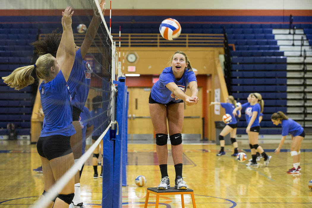 Bishop Gorman volleyball player Tommi Stockham hits the ball over net during practice at Bishop Gorman High School Monday, Aug. 21, 2017, in Las Vegas. Bridget Bennett Las Vegas Review-Journal @br ...