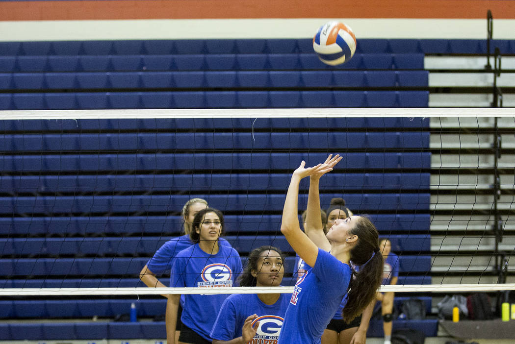 Bishop Gorman volleyball player Sydney Lobato sets the ball during a practice at Bishop Gorman High School Monday, Aug. 21, 2017, in Las Vegas. Bridget Bennett Las Vegas Review-Journal @bridgetkbe ...