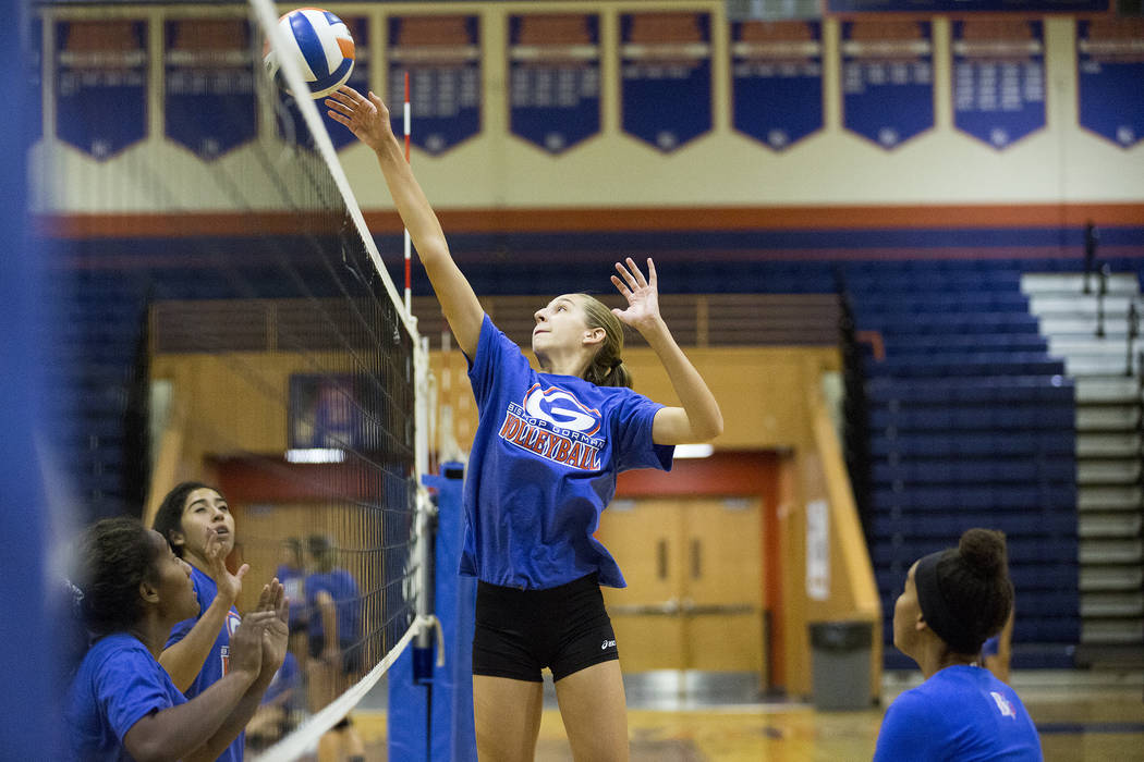 Bishop Gorman volleyball player Anjelina Starck hits the ball over the net during a practice at Bishop Gorman High School Monday, Aug. 21, 2017, in Las Vegas. Bridget Bennett Las Vegas Review-Jour ...