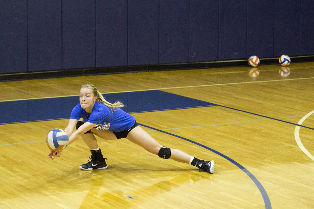 Bishop Gorman volleyball player Lilly Hoff digs for the ball during a practice at Bishop Gorman High School Monday, Aug. 21, 2017, in Las Vegas. Bridget Bennett Las Vegas Review-Journal @bridgetkb ...