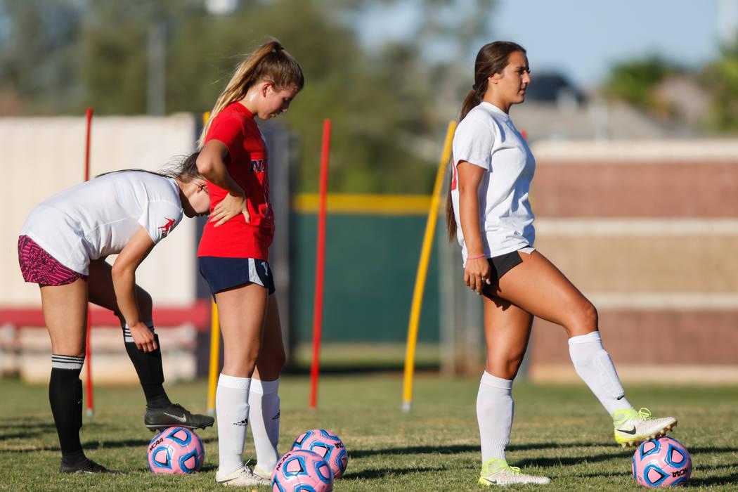 Coronado Varsity Girls Soccer forward Jensen Boman, right, at practice at Coronado High School on Friday, Aug. 18, 2017, in Henderson. Morgan Lieberman Las Vegas Review-Journal