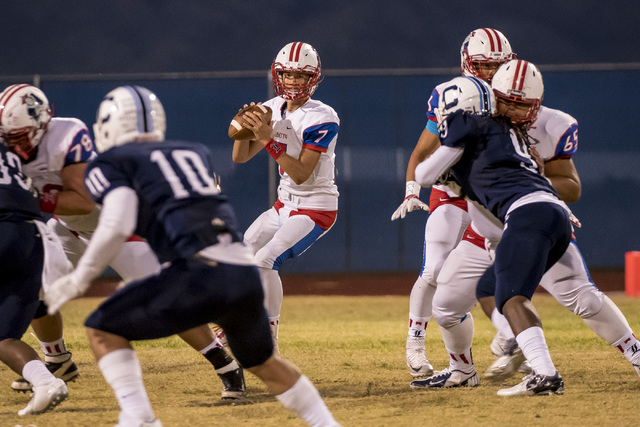 Liberty Patriots quarterback Kenyon Oblad (7) drops back to throw against the Centennial Bulldogs at Carol Leavitt Stadium in Las Vegas on Friday, Sept. 18, 2015. Joshua Dahl/Las Vegas Review-Journal
