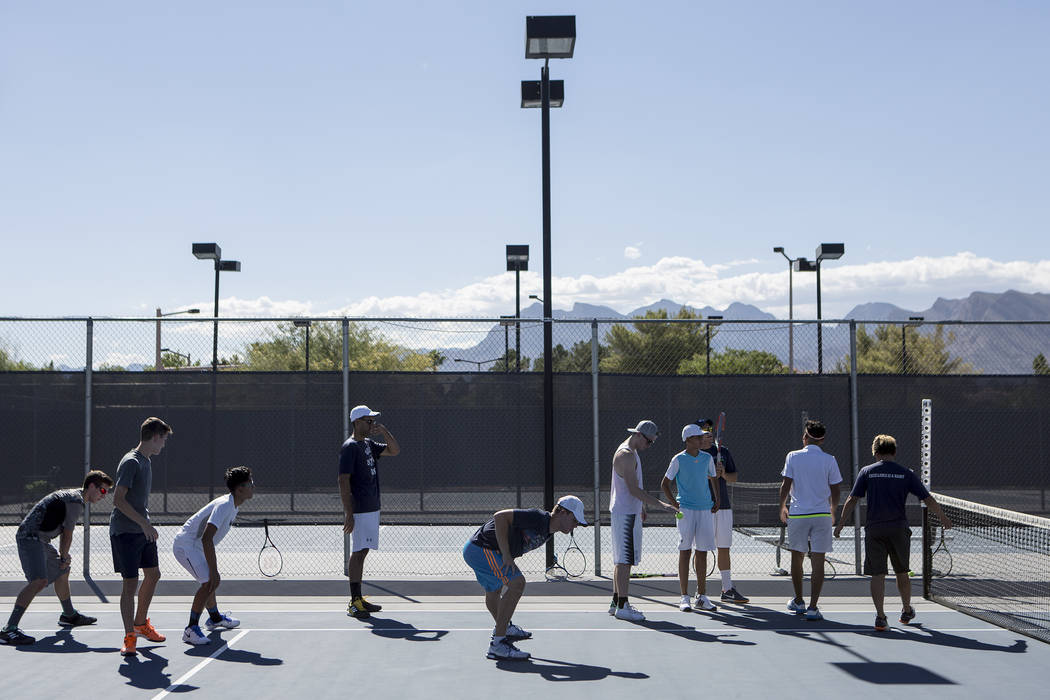 Meadows School tennis players warm upʤuring practice at the Meadows School on Thursday, Aug. 17, 2017, in Las Vegas. Bridget Bennett Las Vegas Review-Journal @bridgetkbennett