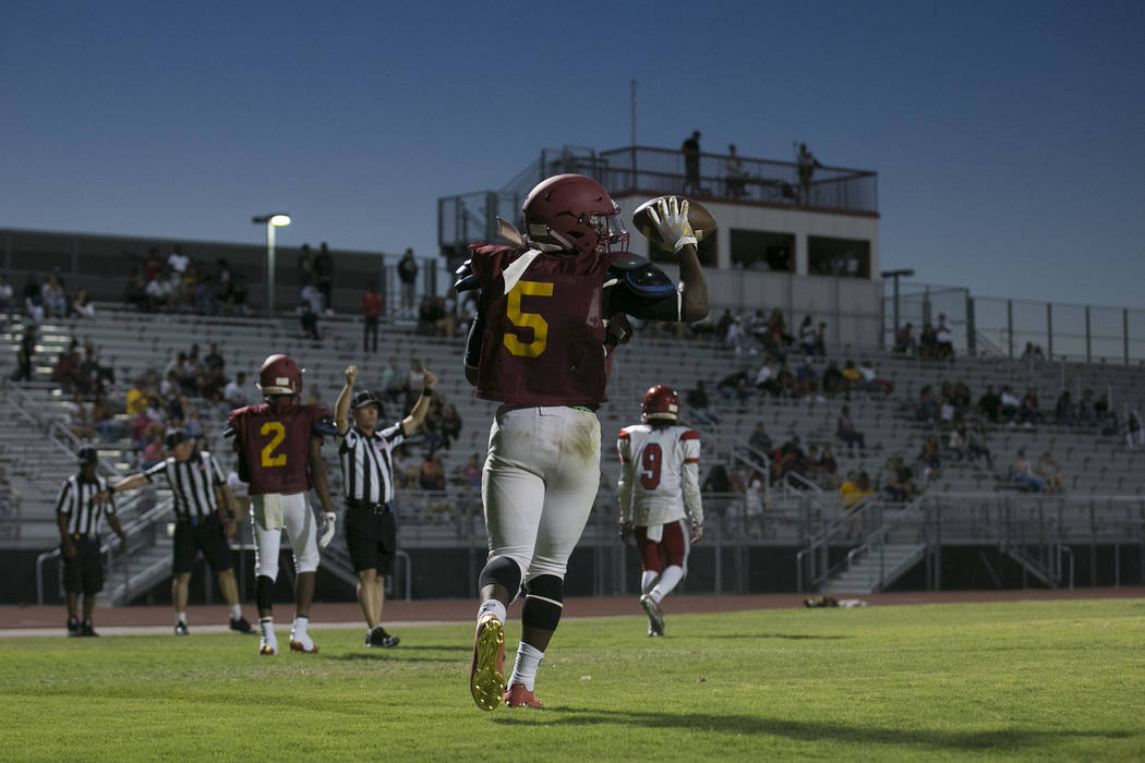 Del Sol senior Taariq Flowers (5) walks off the field during a three-team scrimmage at Del Sol High School on Friday, Aug. 18, 2017, in Las Vegas. Bridget Bennett Las Vegas Review-Journal @bridget ...