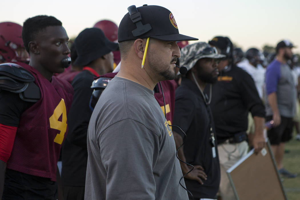 Del Sol head coach Mike Valenzuela watches  during a three-team scrimmage at Del Sol High School on Friday, Aug. 18, 2017, in Las Vegas. This is Valenzuela's first year coaching Del Sol. Bridget B ...