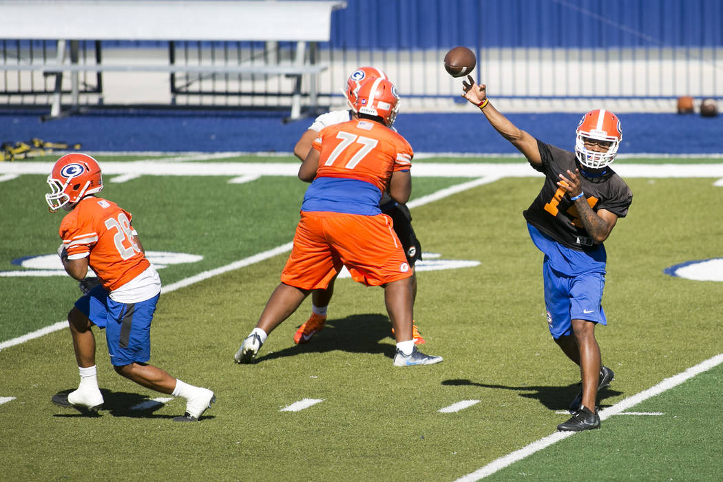 Bishop Gorman quarterback Dorian Thompson Robinson passes the ball during practice with his team at Fertitta Field at Bishop Gorman High School Monday, Aug. 21, 2017, in Las Vegas. Bridget Bennett ...