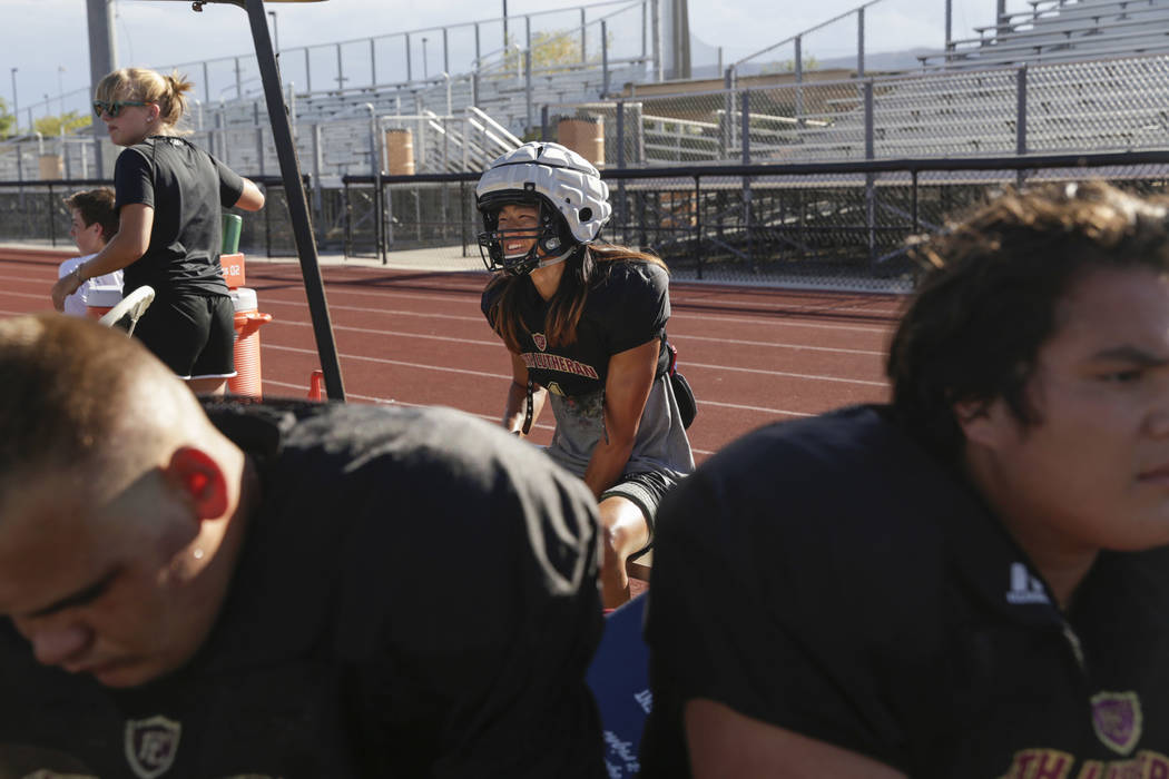 Faith Lutheran defensive back Josh Hong (1) takes a break during practice at Faith Lutheran High School in Las Vegas, on Monday, Aug. 21, 2017.  Gabriella Angotti-Jones Las Vegas Review-Journal @g ...