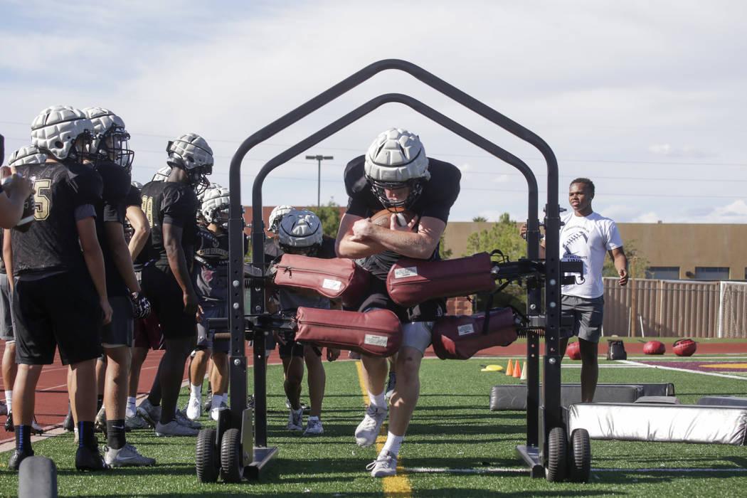 Faith Lutheran wide receiver Elija Kothe (8) runs a drill  during practice at Faith Lutheran High School in Las Vegas, on Monday, Aug. 21, 2017.  Gabriella Angotti-Jones Las Vegas Review-Journal @ ...