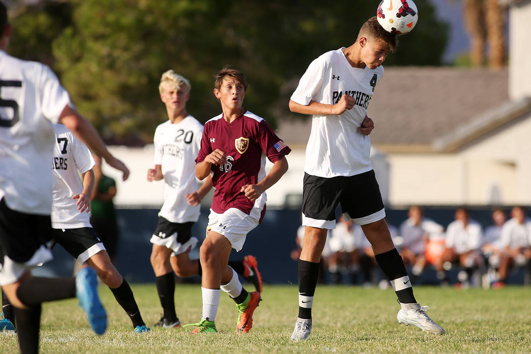 Palo Verde player Ryan Nogues heads the ball during the a against Faith Lutheran at Green Valley High School on Monday, Aug. 28, 2017, in Las Vegas. Palo Verde won 2-0. Bridget Bennett Las Vegas R ...